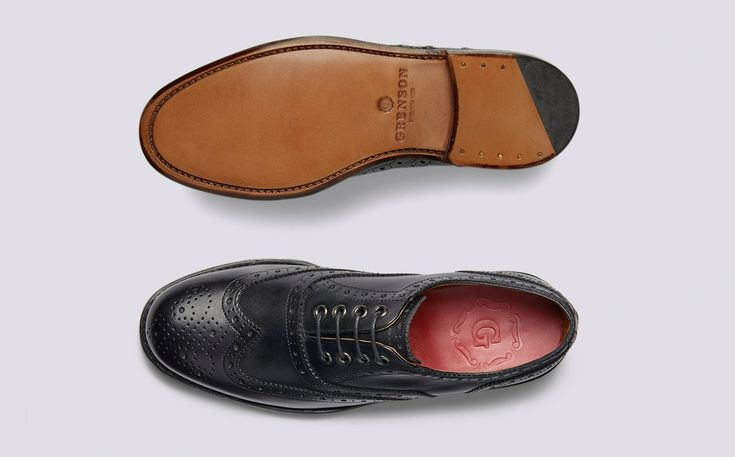 Womens Oxford Brogue in Black Calf Leather with a Leather Sole | Rose | Grenson Shoes