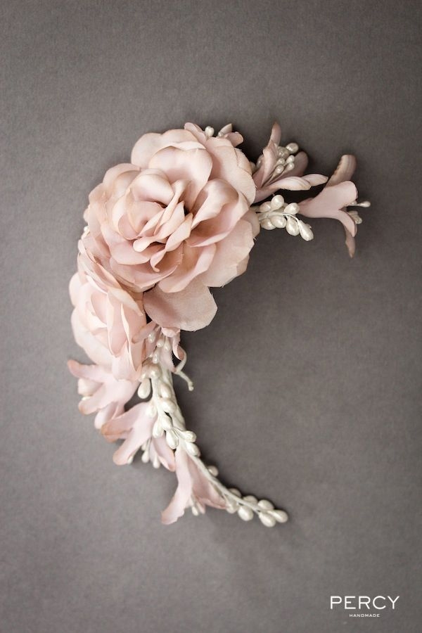 Pink Floral Bridal Headpiece by Percy Handmade