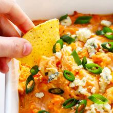 This vegetarian Buffalo Cauliflower Dip recipe is easy to make in the oven or slow cooker, full of big flavors, and downright IRRESISTIBLE!