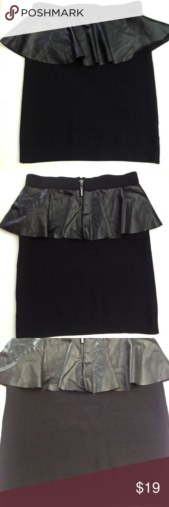 "Bebe Bandage and Faux Leather Peplum Skirt Bandage fitted skirt Faux leather Peplum Back exposed zipper Length approximately 18"" Waist approximately 26"" EUC  Bebe internal tag has detached on one side bebe Skirts"