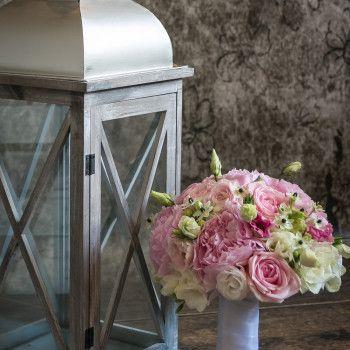 bukiet ślubny eustoma róża piwonia różowy pastelowy