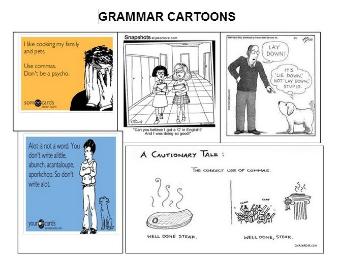 FREE PRINTABLE with grammar cartoons and rules for students and follow-up activity!