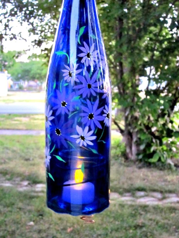Recycled wine bottle garden light hanging candle holder for Wine bottle candle holder craft