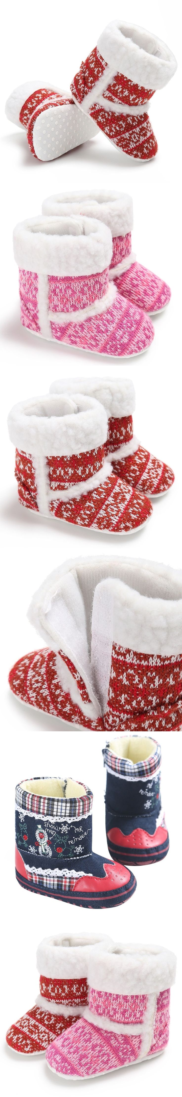 Infant Baby Winter Shoes Baby Girls First Walkers Toddler Soft Rubber Soled Anti-slip Boots Newborn Booties Warm