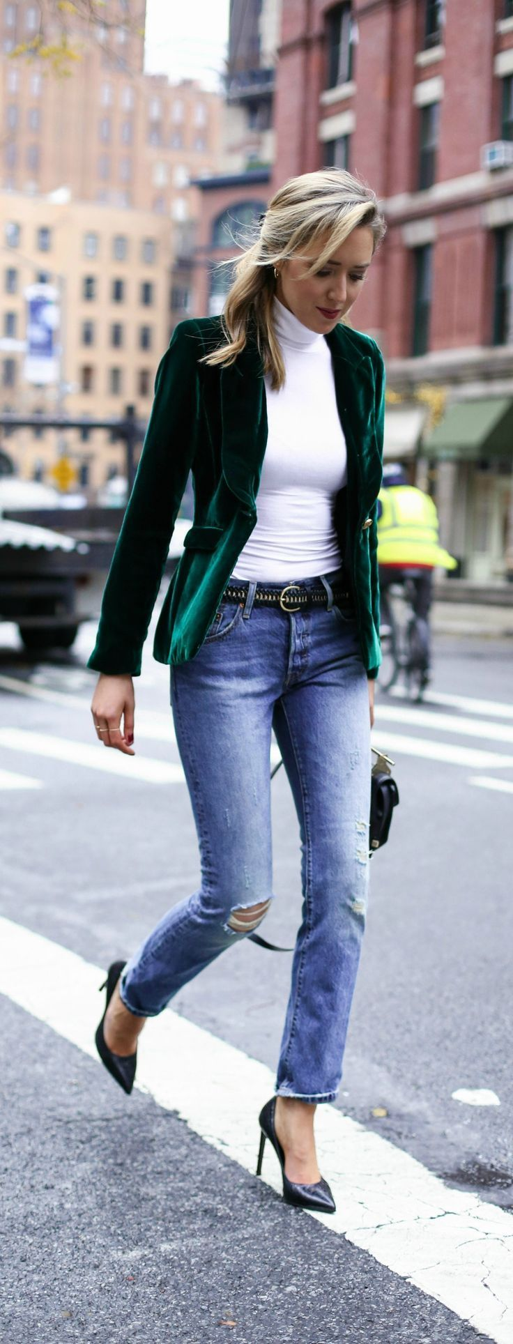 green velvet blazer, classic white turtleneck, distressed boyfriend jeans, timeless pointy toe heels, black and gold braid belt, rhinestone satin ribbon hair bow barrette