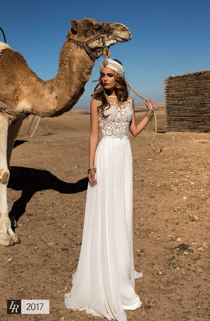 Dilara, Desert Mistress 2017, Chiffon, light and elegant wedding dress is perfect for ceremony on the sea shore or exotic islands