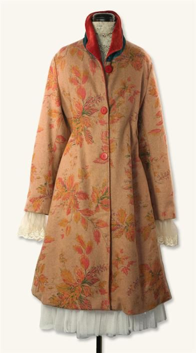 APRIL CORNELL WOODLAND COATDRESS. The luscious bittersweet velvet in the collar runs the length of this artistic coat.