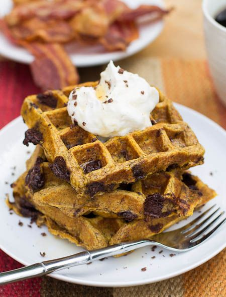 Pumpkin Chocolate Chunk Waffles by Spicy Southern Kitchen