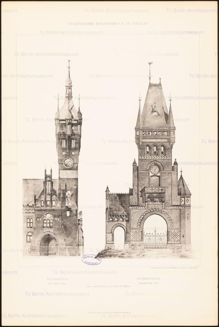 Titel Rathaus. Stadttor. (Aus: Entwürfe in d. Formen des Mittelalters…