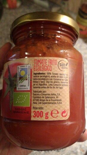 Tomate frito lidl. 90% tomate, azúcar, aceite de oliva virgen extra, sal.