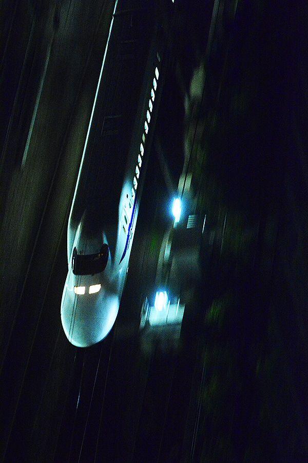 Shinkansen bullet train passing Tamachi station, Tokyo