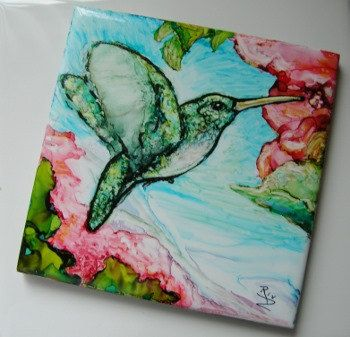 SOLD Painted Alcohol Ink Tile - Hummingbird Hybiscus Flowers - Coaster or Wall Hanging - 4x4  SRA Riv Art
