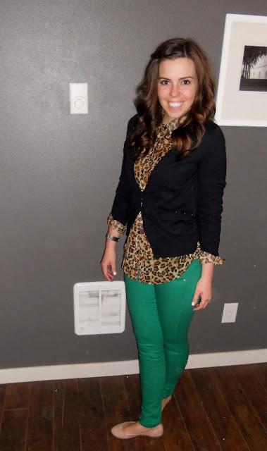 black blazer + leopard + kelly green pants