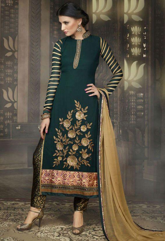 Exotic Pine Green Pant Kameez Set - Salwar Kameez - Women