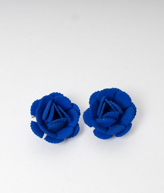 Beautiful 1950's EARRINGS Royal Blue, OneLittleBirdShop on Etsy, £9.00