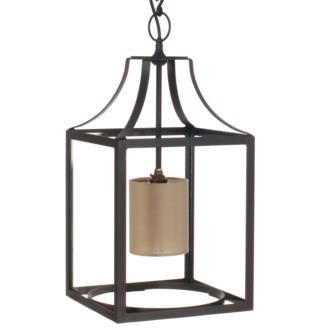 A Handmade Steel Lantern With Glass Casing And Small Linen Central Lampshade Finished In Beeswax