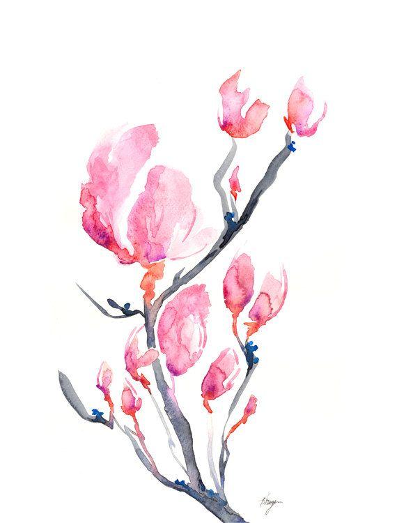 Watercolor Painting - Japanese Magnolia Floral Sumi-e Art Print