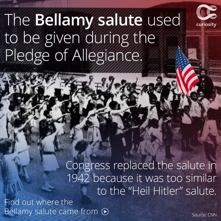 "The Bellamy salute was named after Francis J. Bellamy, the author of the Pledge of Allegiance. However, anyone can see the trouble this salute may have caused in the WWII era. The similarities between the Bellamy salute and Hitler's salute drew commentary as early as the mid-1930s. Congress feared footage of the Bellamy salute could be used by Nazis as propaganda: ""the photos could be mischaracterized as proof that Americans were expressing support for the ideologies of Hitler and…"