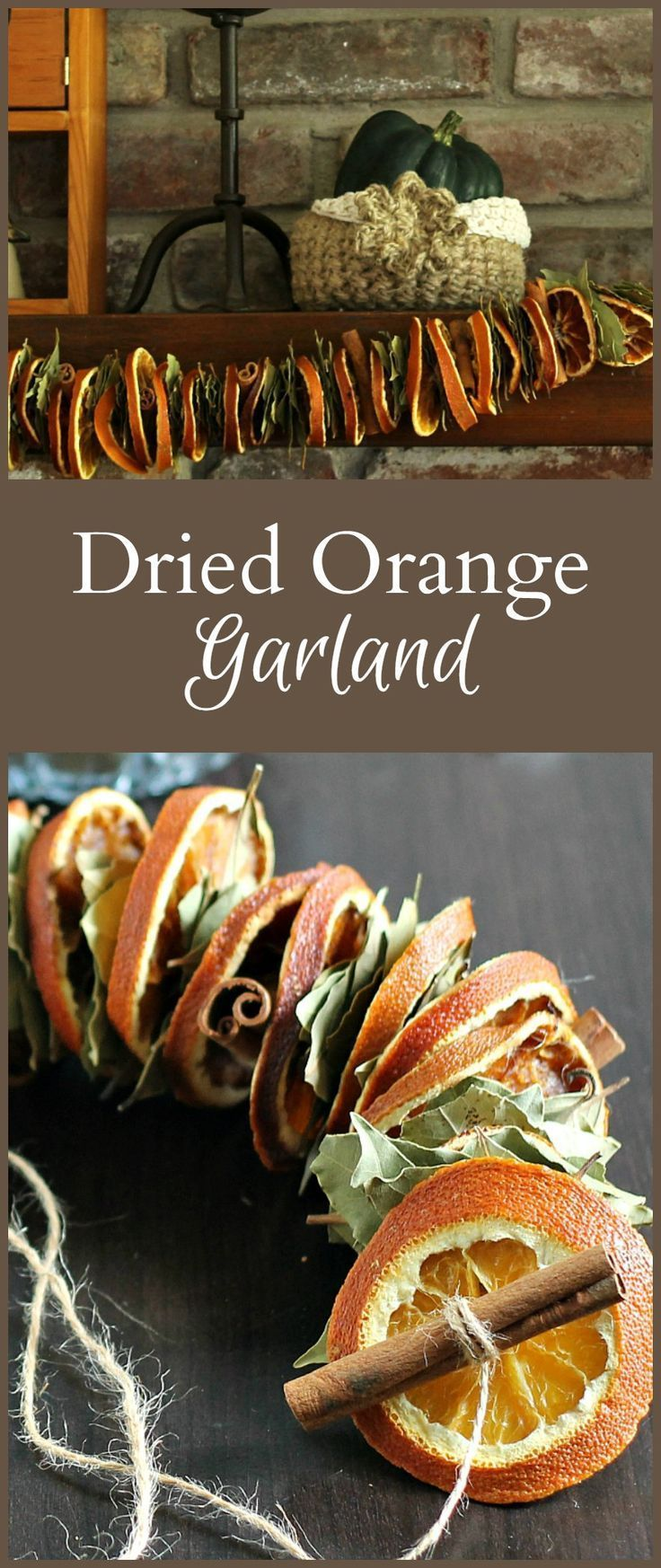 Learn how to make this dried orange garland with bay leaves and cinnamon sticks. It's a fun and easy decorating project for your fall home decor.