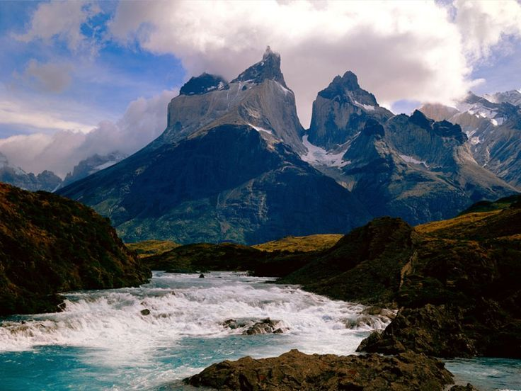 turquoise-blue lake in Torres del Paine National Park in Chile