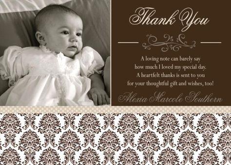 christening thank you wording | ... Damask Baptism Communion Christening Invitation or Thank You Card