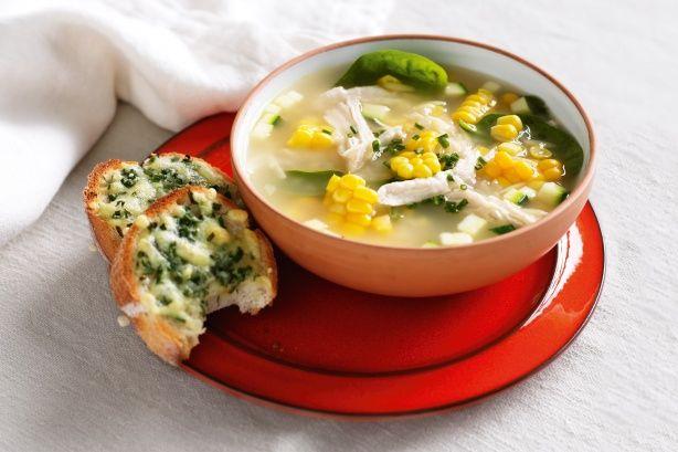 Chicken, corn and risoni soup