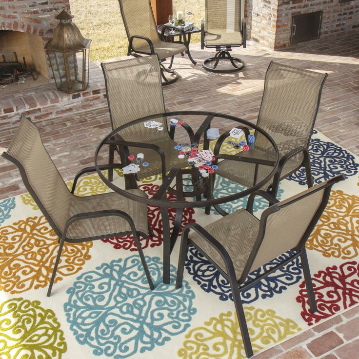Madison Bay 5 Piece Sling Dining Set With Stacking Chairs And Glass Table  By Lakeview Outdoor Designs