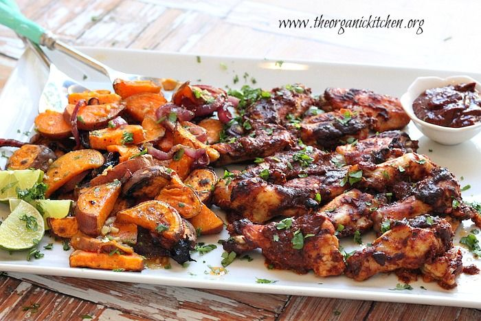 Chipotle Roasted Chicken Wings and Sweet Potatoes