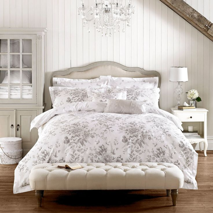 Holly Willoughby bedding from the Rene bed linen range  - in gorgeous grey and white floral - duvet covers, pillowcases and matching scatter cushions.  Free UK Delivery!