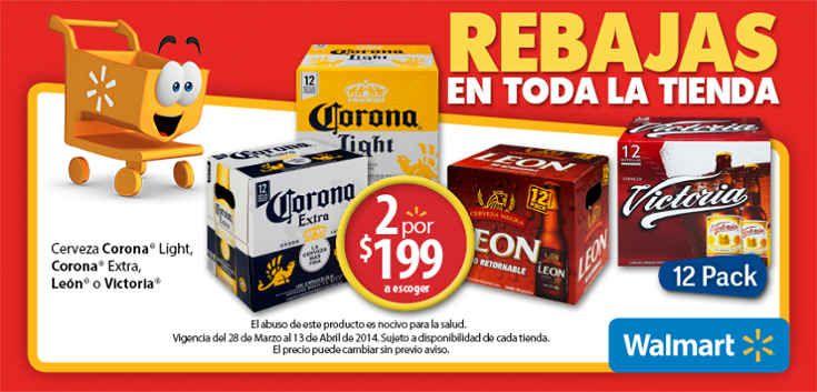 Walmart: 2x$199 en Cerveza Corona Light, Corona Extra, León o Victoria Walmart: Prepárate para las vacaciones con los increíbles precios que las Rebajas Walmart tienen para ti, por ejemplo: Promoción> Cerveza Corona Light, Corona Extra, León o Victoria 2 por $ 199 (a escoger) Esta oferta y pro... -> http://www.cuponofertas.com.mx/oferta/walmart-2x199-en-cerveza-corona-light-corona-extra-leon-o-victoria/