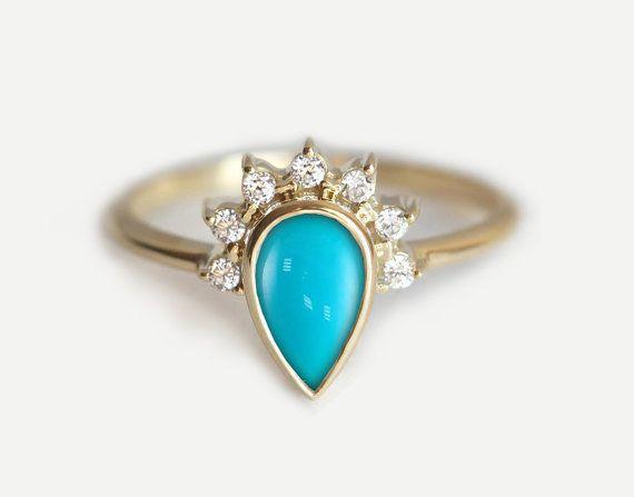 Turquoise bague de fiançailles, fiançailles bague Turquoise, Turquoise diamant bague, bague de fiançailles de poire, Simple bague de fiançailles
