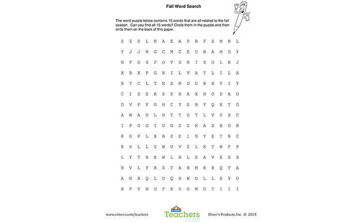 Free Printable for Moms & Teachers: Fall Word Search for Kids.