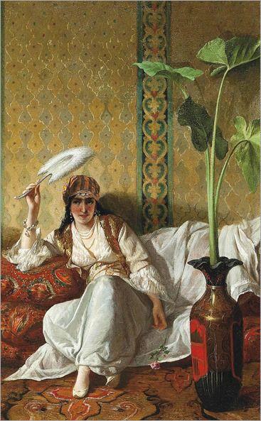Eleuterio Pagliano (Italian, 1826-1903)-a harem beauty