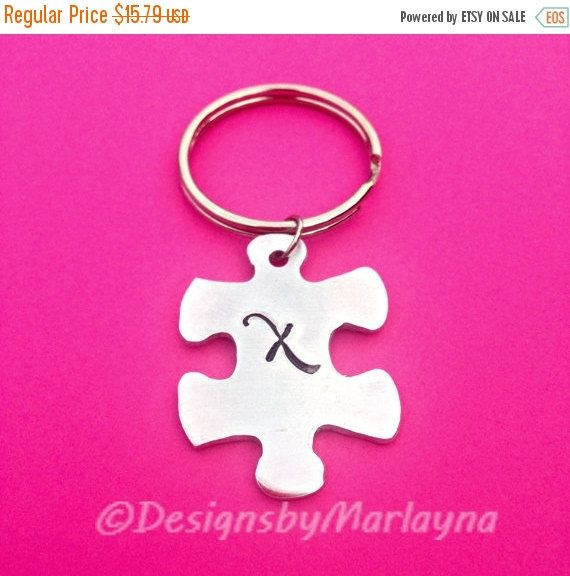 Puzzle Piece Key chain, Autism Awareness, Puzzle Jewelry, Hand Stamped Gift, Awareness Month, initial, Christmas Gifts, Best Friend gift