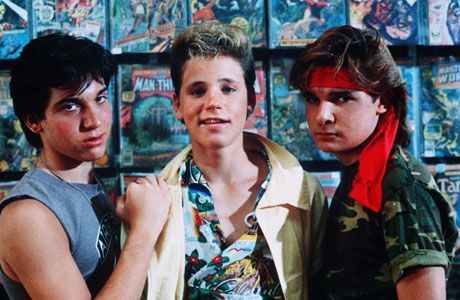 """""""The Lost Boys"""". This had it all... Vampires, Comic Books, Conspiracy Theories, & a Wicked Topless Saxophonist. RIP Corey"""