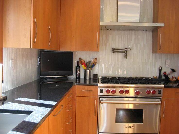 black granite kitchen backsplash and glass subway tile backsplash