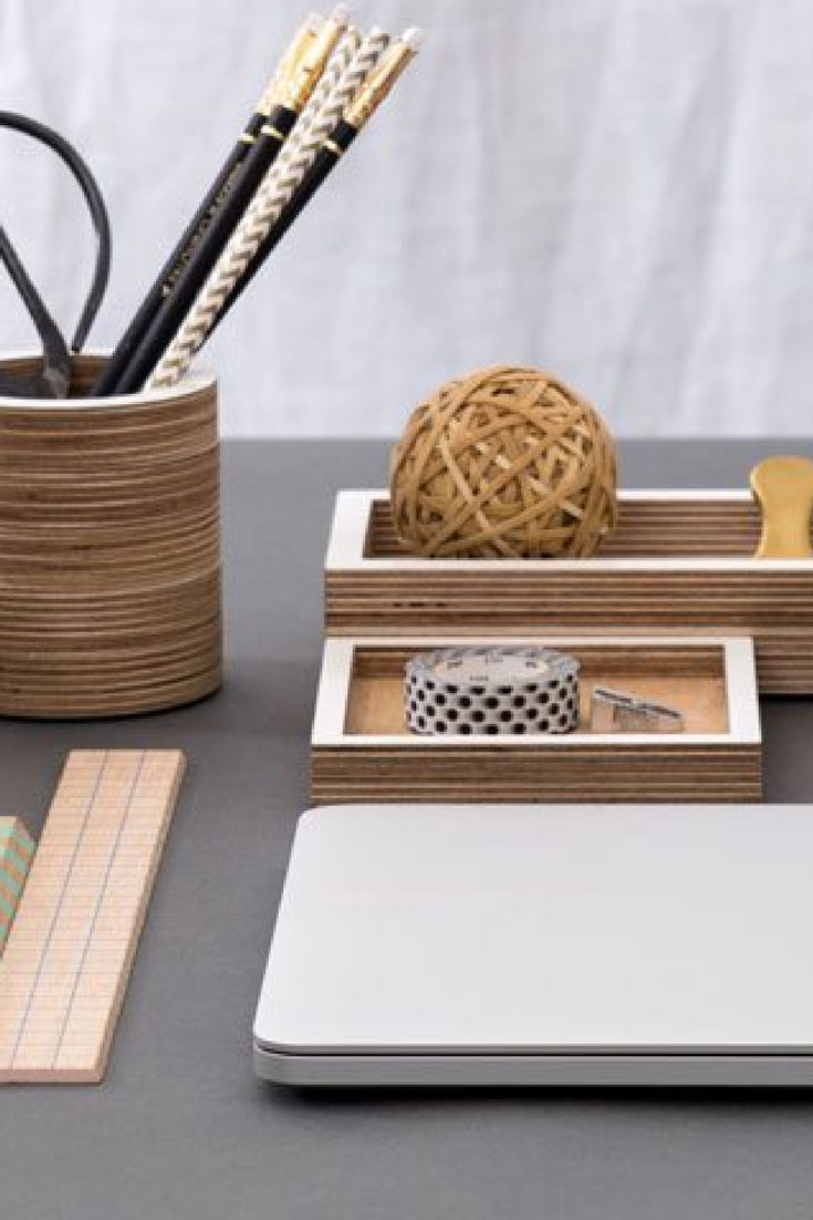 Scandinavian style handcrafted plywood desk accessories -add some unique style to our home office with our wooden pen pots and desk organisers, made in London.