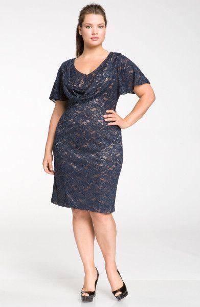 Js Collections Drape Neck Lace Sheath Dress @Lyst