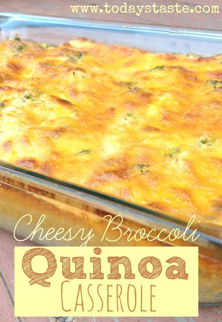 Cheesy Broccoli Quinoa Casserole from www.todaystaste.com #quinoa #casserole