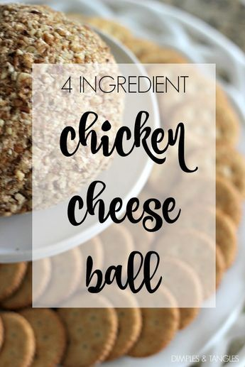 Chicken Cheese Ball (2) 8 oz. blocks of cream cheese, softened (low fat is ok) 1 large can of chicken (about 12 oz.) 1 envelope (2-3 tablespoons) of dry ranch mix chopped pecans Allow cream cheese to soften, and put in a mixing bowl. Drain chicken and add, separating chunks. Finally, add dry ranch mix. Mix until ingredients are well incorporated. I always mix by hand but don't know why I don't use my Kitchen Aid with the paddle beater, that would be so much easier!