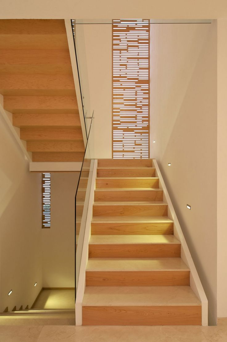 Staircase Wood And White Playful And Quirky Details Influencing Lighting: Casa Natalia by Agraz Arquitectos