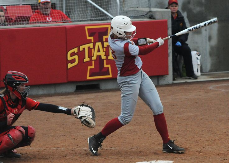 Iowa State's Talyn Lewis hits the ball for two RBI double against Texas Tech during the third inning at Cyclone Sports Complex Friday, March 24, 2017, in Ames, Iowa. Photo by Nirmalendu Majumdar/Ames Tribune http://www.amestrib.com/sports/20170324/softball-iowa-state-gives-up-13-runs-in-first-falls-to-texas-tech-18-4-in-big-12-opener
