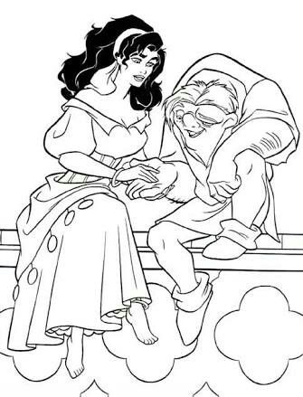 Esmeralda Holding Hands Quasimodo Coloring Pages For Kids Printable Hunchback Of Notre Dame