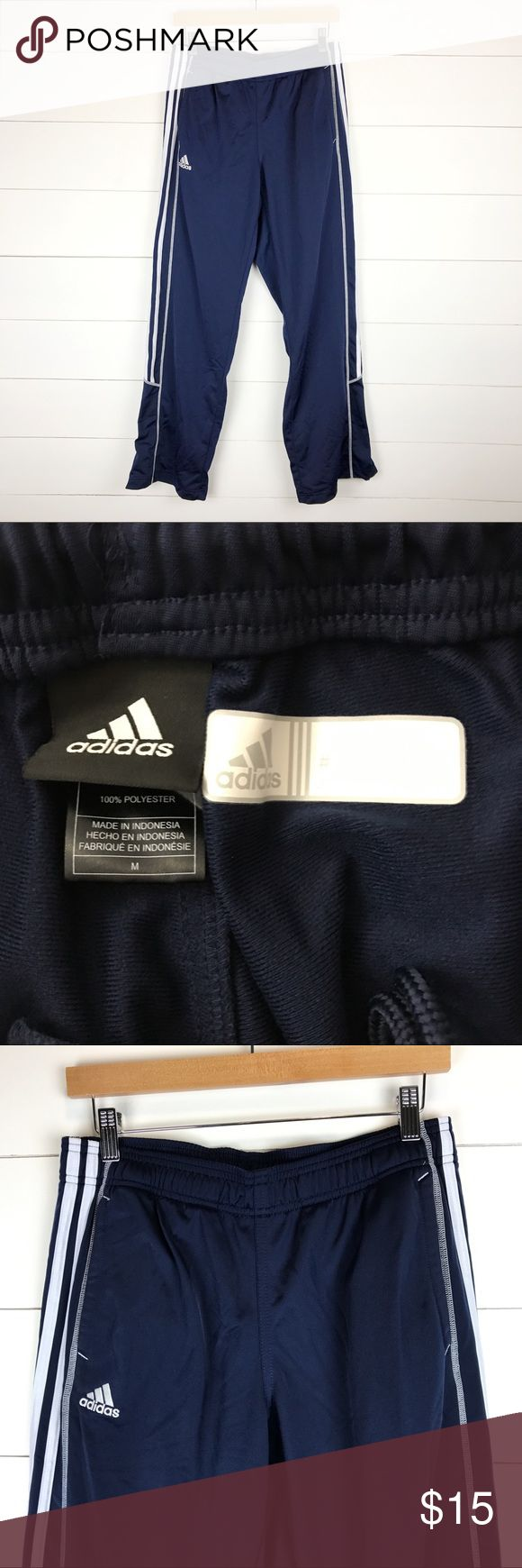 "Adidas Youth M Navy Blue White Zip Ankle Pants Awesome pair of adidas youth size medium pants.  Navy blue with white stripes and logo.  Zip up ankles and pockets.  MEASUREMENTS  Waist 26""  Inseam 32""  Rise 11""  B1 adidas Bottoms Sweatpants & Joggers"
