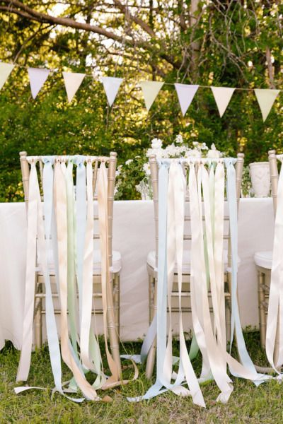 Ribbon chairs: http://www.stylemepretty.com/living/2015/03/21/narnia-1st-birthday-party/ | Photography: Annabella Charles - http://www.annabellacharlesblog.com/