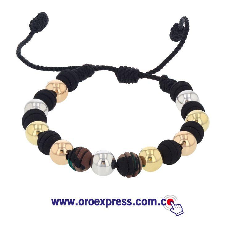 Pulsera en neopreno y oro 18k. Neopreno camuflados. Define tu estilo y personaliza la tuya! www.oroexpress.com.co Whats App 317 543 5909