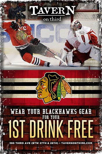 Game Play Off Blackhawks vs. Lightning Stanley Cup Playoffs June 6, 2015  Puck drops at 7:15pm.  Catch the game with sound and enjoy $2 off appetizers, seasonal beers, and wine.  Wouldn't be official without a Chicago beer special... $4 Goose Island Drafts too!