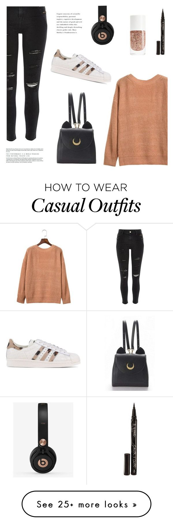 """Casual sundays"" by nadialesa on Polyvore featuring River Island, adidas Originals, Beats by Dr. Dre, WithChic, Smith & Cult, adidas, sneakers and sweaterweather"
