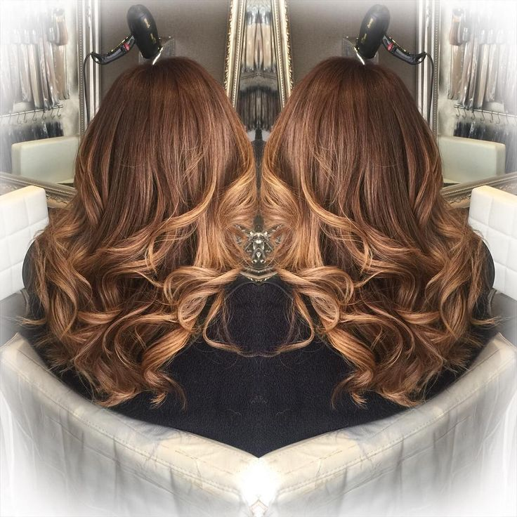 """Another fab colour combination Chestnut root fade & honey balayage Restyle & loose curls From £65 Call01925 573667 or message us to book…"""