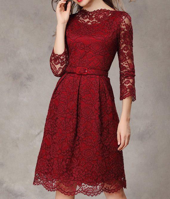Dark Wine Red / Green /Khaki lace dress thick by happyfamilyjudy